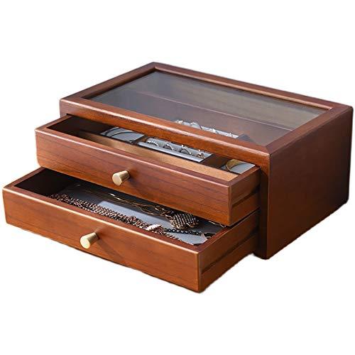 LHONG Joyero-relojero de Madera con Tapa de Cristal, 2 cajones, para Collares, Pulseras, Pendientes