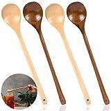 Cuchara de madera de 4 piezas, DanziX Cucharas de sopa de madera con mango largo de 13 pulgadas para cocina, mezcla, agitación, cocina, marrón claro, marrón oscuro