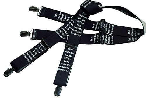 Schwarz-weiße Hosenträger mit Spaßtext | Ich werde nicht älter- ich werde immer besser | Damen und Herren | One Size 120 cm | Anzug-Hosenträger | Arbeitskleidung-Hosenträger | Teichmann