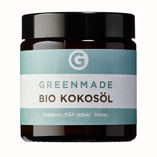 Bio Kokosöl 100ml - 100{ff97f1fb0d53a63bcdf9674f772b9c4d0673072cc90b55e4508fe7d07a7d8238} reines, kaltgepresstes Öl von greenmade