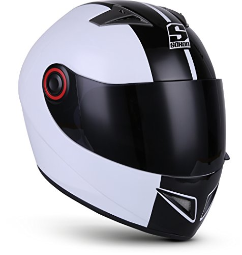 "Soxon® ST-666 ""Deluxe White Black"" · Integral-Helm · Full-Face Motorrad-Helm Roller-Helm Scooter-Helm Cruiser Sturz-Helm StreetFighter-Helm MTB · ECE 22.05 Visier Schnellverschluss Tasche XL (61-62cm)"