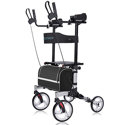 "ELENKER Upright Walker, Stand Up Folding Rollator Walker with 10"" Front Wheels Backrest Seat and..."