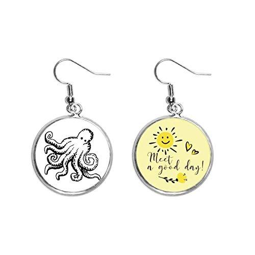 Marine Life Octopus Cartoon Illustration Ear Drop Sun Flower Earring Jewelry Fashion