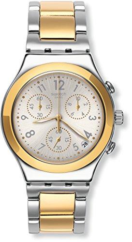 Swatch Damen Chronograph Quarz Uhr mit Edelstahl Armband YCS590G