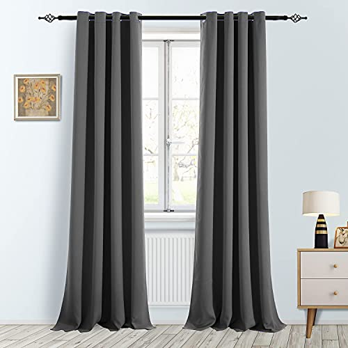 """FULAN Gray Blackout Curtains for Bedroom Dark Grey 108 Inches Long for Living Window Curtains Moderate Room Darkening Grommet Top 52"""" W x 108"""" L 2 Panels"""