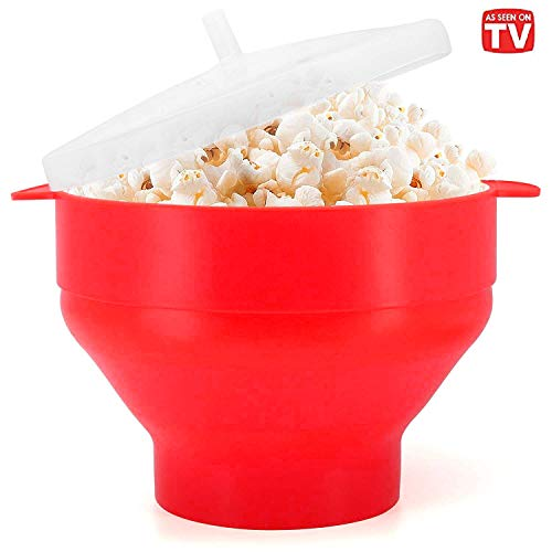 Microwaveable Silicone Popcorn Popper, BPA Free Collapsible Hot Air Microwavable Popcorn Maker Bowl,...