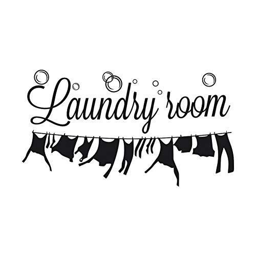 Lavandería etiqueta de la pared de vinilo pegatinas de pared lavadora de ropa pegatina para la decoración de la habitación del hogar