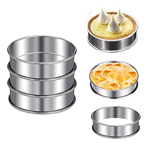 KeepingcooX Crumpet Rings Set of 6 - Non Stick, Double Rolled Tart Rings for Poaching Eggs, Professional English Muffin Rings, Small Pancake,Burger Press, Frying Eggs, 8cm+10cm