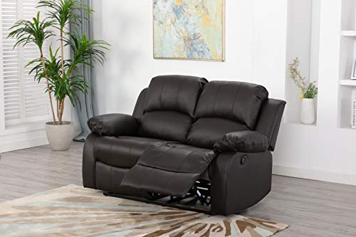 Athon furniture Brown 2 seater, Double Recliner Sofa, Quality Leather settee, Couche suite