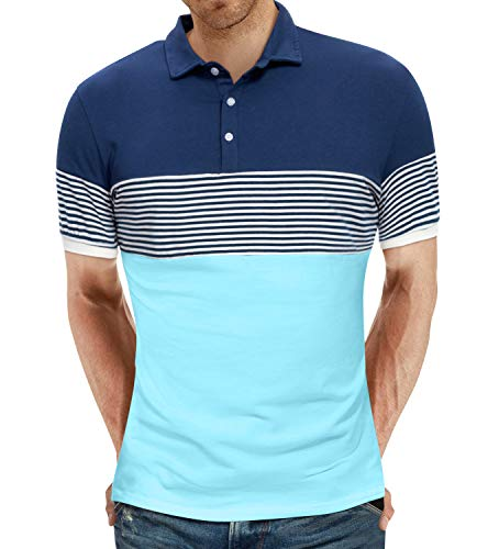 YTD-Mens-Short-Sleeve-Polo-Shirts-Casual-Slim-Fit-Contrast-Color-Stitching-Stripe-Cotton-Shirts