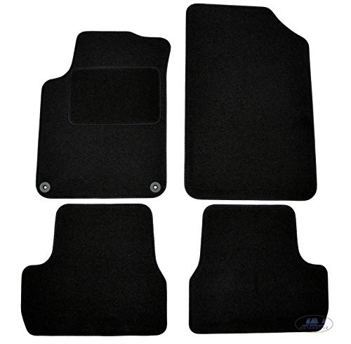 J&J AUTOMOTIVE | Tapis de Sol Noir Velours Compatible avec Citroen DS3 2009-2015 4 pcs