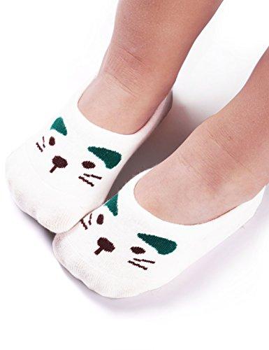 BaBa Mate Baby Infant Toddler Boys Girls Cute Animal Cotton No Show Socks with Non Slip Grip,Cat Bear Rabbit,6 PairsWhite Gray White/6 Pairs S (1-3Year) / Shoe size 6.5-10 Toddler