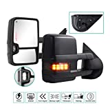 Sanooer Towing Mirrors for 2007 2008 2009 2010 2011 2012 2013 Chevy Silverado Suburban Tahoe Avalanche GMC Sierra Yukon with Power Glass Turn Signal Light Backup Lamp Heated Extendable Pair Set
