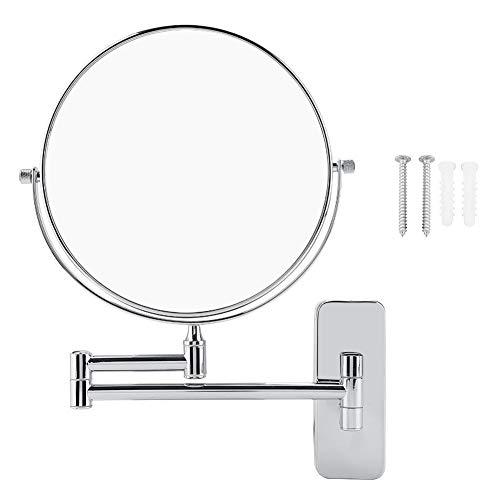 Wandspiegel, 20 cm, 10-fache Vergrößerung, 360 Grad drehbar, doppelseitig, rund, Schminkspiegel, faltbar, Badezimmer, Rasierspiegel, Kosmetikspiegel für Zuhause, Badezimmer, silberfarben