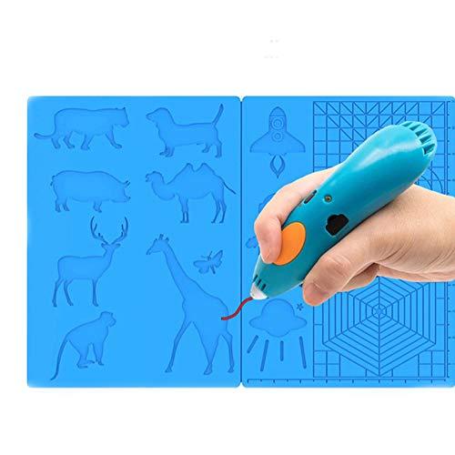 3D Stift Matte, Große Multi-Form Silikon 3D Druckstift Basic Vorlage Druckmatte mit 4 Fingerschutzen, Geschenk für 3D Anfänger / Kinder / Erwachsene (16,3 * 7,8 Zoll)