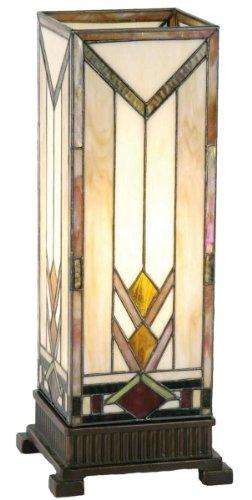 Lumilamp 5LL-9227 - Lámpara de mesa (18 x 45 cm, 1 bombilla E27 máx. 60 W, cristal colorido, hecha a mano), color blanco