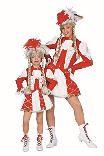 Wilbers Garde Kinder Kostüm Tanzmariechen weiß-rot Karneval Fasching Gr.140