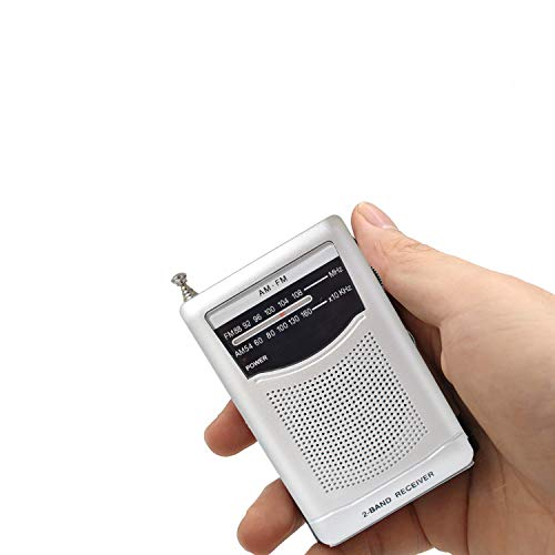 MIKA Portable Pocket Handheld AM FM Radio Battery Operated, Mini Radio, Long Range Reception, Easy Tuner with Telescopic Antenna, Headphones Socket and Belt Clip for Easy Carry