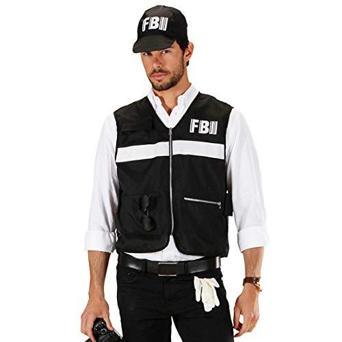 NET TOYS Angesagtes FBI-Kostüm für Herren - Schwarz XL (54) - Aufregendes Männer-Outfit Agenten Polizei-Kostüm mit Weste & Mütze - Perfekt geeignet für Fasching & Karneval