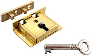 Small Brass Half Mortise Chest or Box Lock w/Skeleton Key | S-8
