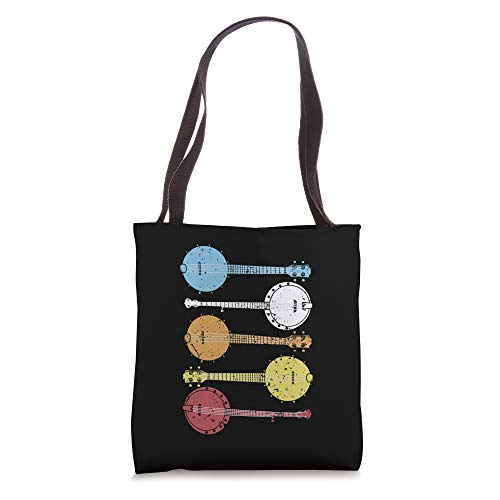 Vintage Banjo Gift Retro Country Music Gifts Women Bluegrass Tote Bag
