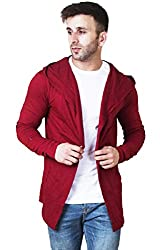 Veirdo Mens Cotton Regular Fit Hooded Cardigan