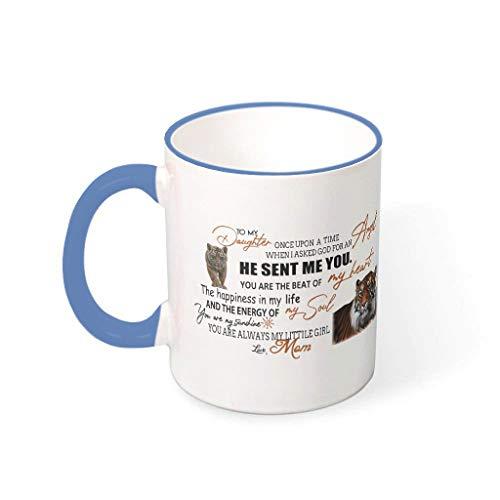Mug Zu meiner Tochter von Mama Porzellan Glossy Becher Tasse - Tiger Mutter Mädchen Frauen Geschenke Steel Blue 330ml