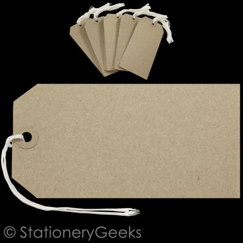 50 Brown BUFF Strung Tags 146mm x 73mm Extra Large Luggage Manilla Tie On Craft