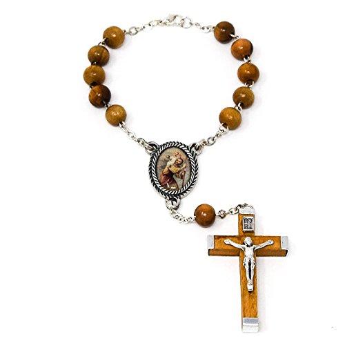 Catholic Gift Shop Ltd Zehner-Rosenkranz Heiliger Christophorus mit einer Lourdes Gebetskarte