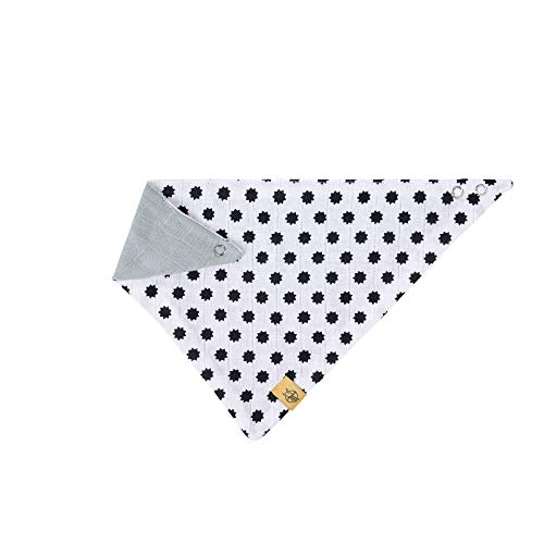 LÄSSIG baby kinderen bandana slabbetjes katoen drukknop absorberend dubbellaags draagbaar aan beide zijden/Bandana Little Chums Stars zwart, wit