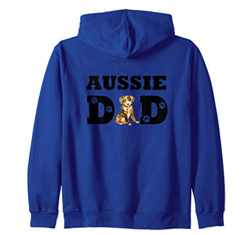 Aussie Dad Papà Pastore Australiano Australian Shepherd Cane Felpa con Cappuccio