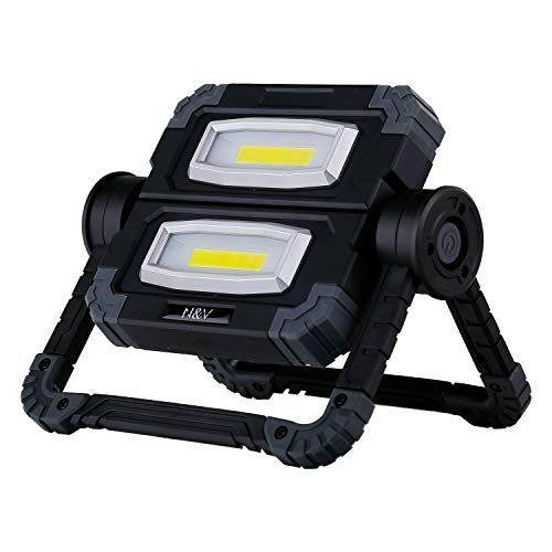 Portable Flood Light Battery Powered COB Work Light Waterproof Durable 360 Degree Rotating LED Work Light for Indoor Outdoor Hiking Camping Garage Lawn & More