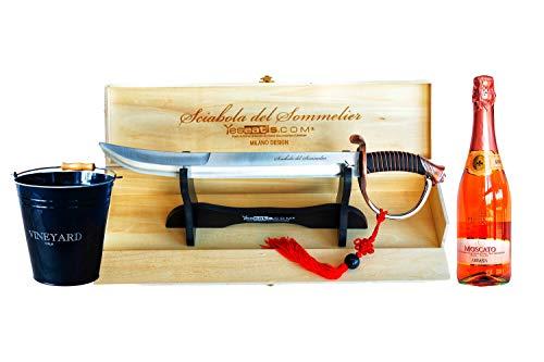 YesEatIs - Champagnersäbel für Sommelier mit Bronzegriff und Holzvitrine - Starter Kit mit Eiskübel und Italienischem Sekt (Moscato Rosè)