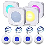 LIOTOIN Wireless Caregiver Pager SOS Call Button for Elderly Nurse Alert System Call Bell for Home/Elderly/Patients/Disabled 4 Transmitters 4 Plugin Receivers (with Color Light Flashing Reminder)