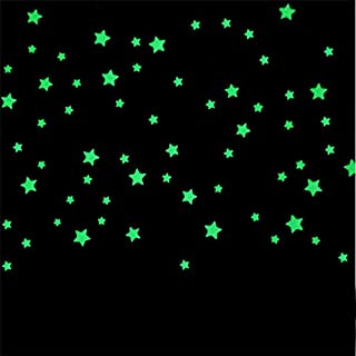 Wall Stickers - 100pcs 3D Stars Glow In The Dark Wall Stickers Luminous Fluorescent Wall Stickers For Kids Baby Room Bedro...