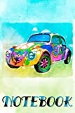 Hippie Beetle. Notebook Design Retro. Ruled Notebook. Journal Classic Writing Notebook, Paperback (6 x 9). Use for Office, Home, School, or Business. 100 pages. Matte cover