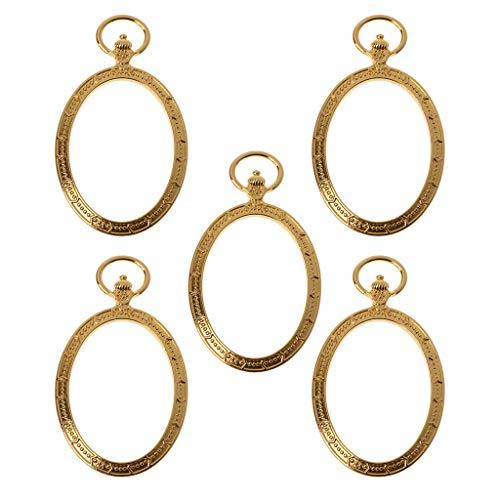Boji Marco colgante bisel de 5 piezas ovalado de bolsillo para reloj de bolsillo con marco de metal para colgar, bisel de resina para fabricación de joyas, artesanías y joyas