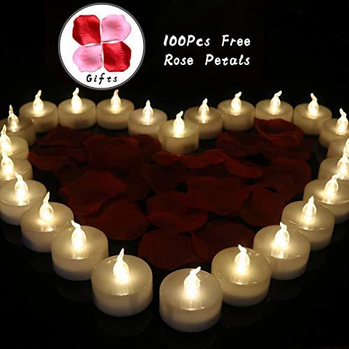 HXMSXROMIDA Led Teelicht, Hochzeitskerze Modern, 100 Stück Nicht Gewebte Rosenblätter, 24 Packungen, Elektronische Kerzen, Warmweißes Licht