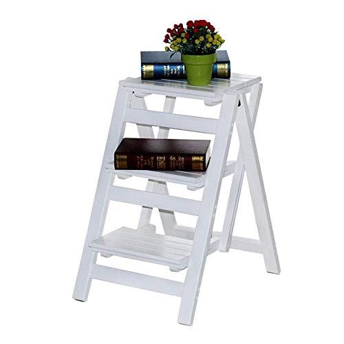 Echelle Escabeau Pliant Ladder Tabouret Multifonction 3 Couches Escabeau Accueil Cuisine Bibliothèque Fleur Support/Chaussures Banc/étagère de Rangement QIQIDEDIAN