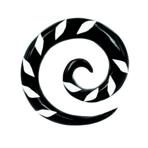 Chic-Net Tribal Buffalo Horn Piercing Expander- Schwarze Spirale mit weißem Karoinlay- 3mm- Plug- Tunnel- Ohrring- Ohrhänger- Ohrstecker