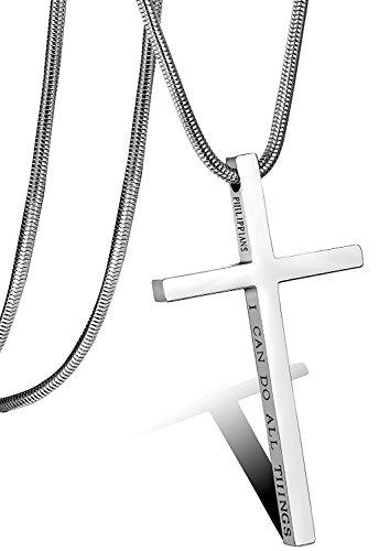Besteel Acero Inoxidable Collar Cruz para Hombre Mujer Cadena Serpiente con Colgante Cruz Collar Religioso, 61CM Plata