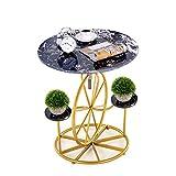 N /A Mini Mesa de Centro, Altura Ajustable, Mesa de Almacenamiento de mármol, Estilo Creativo, para el hogar del Hotel, Negro