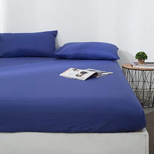 WTMLK 100% Polyester Solid Fitted Sheet Mattress Cover Four Corners With Elastic Band Bed Sheets,dark blue,160x200x25cm