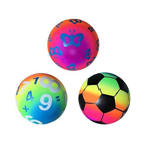 3 stücke Verdickt Regenbogen Bälle Inflation Strand Sport Spielen Ball Kickball Handball Spielzeug für Indoor Outdoor Spielplatz Aktivitäten (Mixed Pattern)