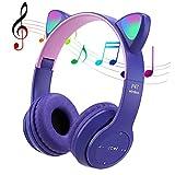 POTIKA Fone De Ouvido Bluetooth 5.0 Sem Fio, Fone De Ouvido Lindo Em Forma De Orelha De Gato, Cancelamento De Ruídos Sobre Os Fones De Ouvido, Fone De Ouvido Esportivo Com Luz Led Piscando, Violeta