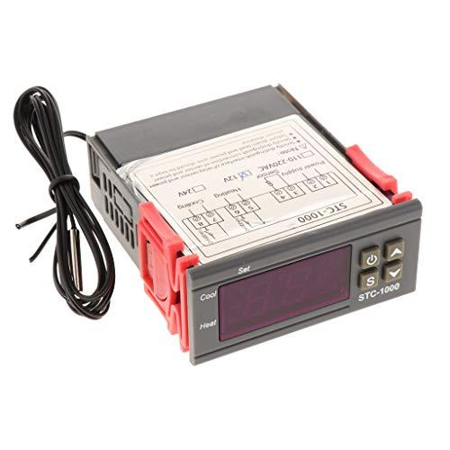 Almencla Controlador de Temperatura Digital Multiusos DC 12V Termostato Y Centígrado con Relés de Sensor 10A