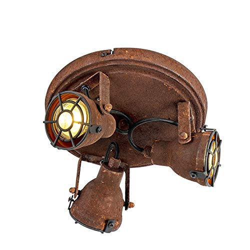 QAZQA Industrie/Industrial Industrieller Spot/Spotlight/Deckenspot/Deckenstrahler/Strahler/Lampe/Leuchte im Rostdesign 3-flammig Spotbalken-Flammig - Sorra/Innenbeleuchtung/Wohnzimme