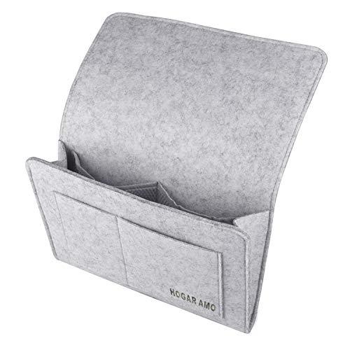 HOGAR AMO Dicke Filz-Bett-Caddy-Organizer Betttasche Sofa Hängeaufbewahrung für Handy, iPad, Brille, Buch, Fernbedienung, 4 Taschen & Seitenloch für Aufladungskabel 32 x 20cm (Grau)