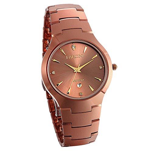 JewelryWe Herren Armbanduhr Analog Quarz Kalender Wolframcarbid Band Geschäfts Uhr Kaffeegold