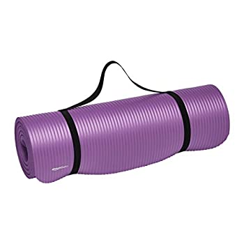Amazon Basics Extra Thick Exercise Yoga Gym Floor Mat with Carrying Strap - 74 x 24 x .5 Inches Purple